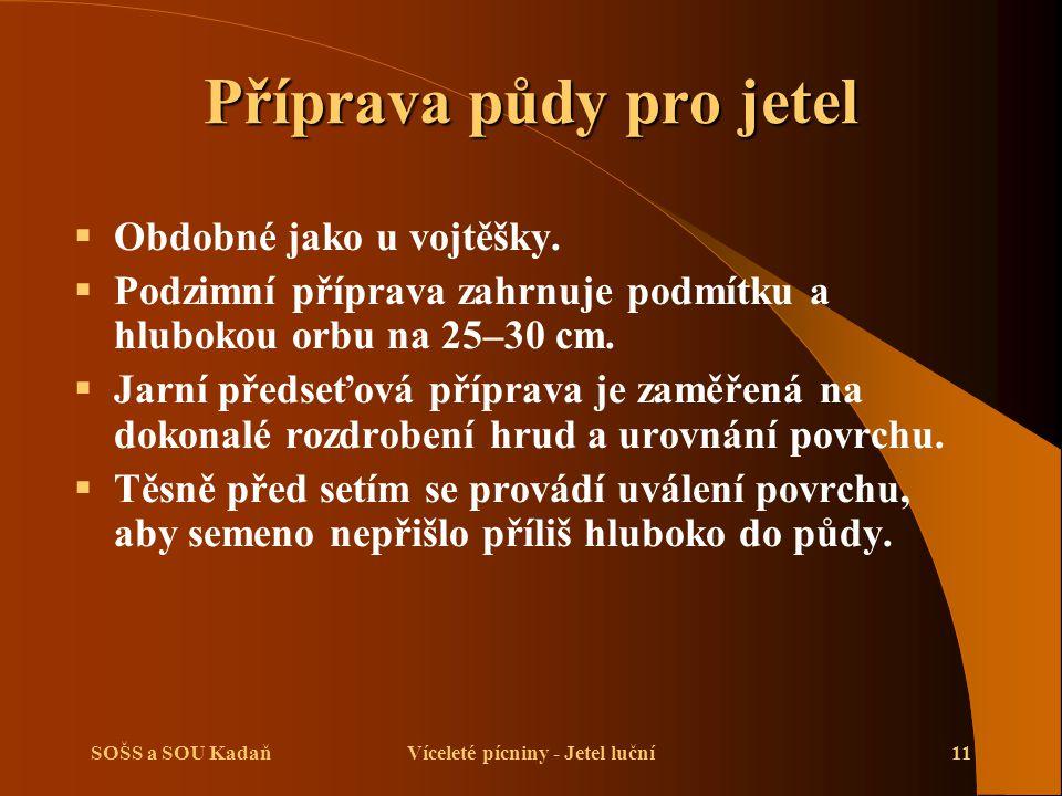 SOŠS a SOU KadaňVíceleté pícniny - Jetel luční11 Příprava půdy pro jetel  Obdobné jako u vojtěšky.