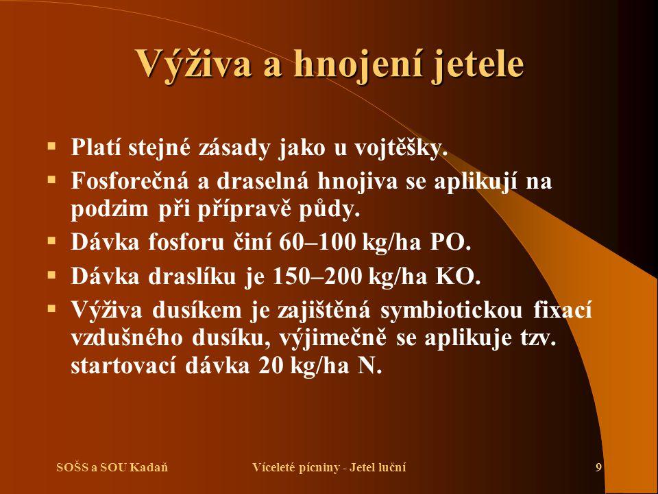 SOŠS a SOU KadaňVíceleté pícniny - Jetel luční9 Výživa a hnojení jetele  Platí stejné zásady jako u vojtěšky.
