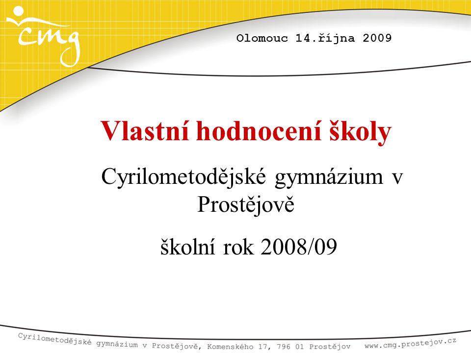 Olomouc 14.října 2009 Vlastní hodnocení školy Cyrilometodějské gymnázium v Prostějově školní rok 2008/09