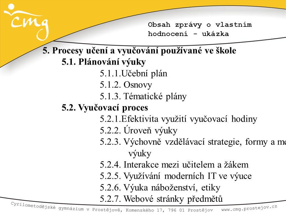 Obsah zprávy o vlastním hodnocení - ukázka 5. Procesy učení a vyučování používané ve škole 5.1. Plánování výuky 5.1.1.Učební plán 5.1.2. Osnovy 5.1.3.