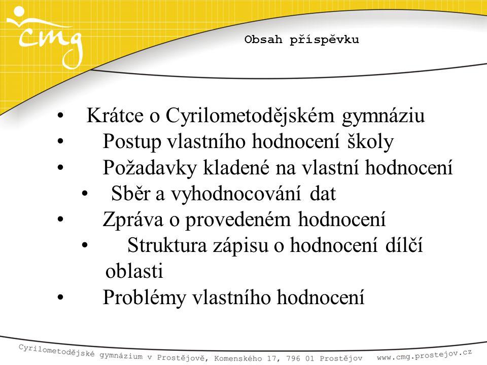 Obsah příspěvku • Krátce o Cyrilometodějském gymnáziu • Postup vlastního hodnocení školy • Požadavky kladené na vlastní hodnocení • Sběr a vyhodnocová