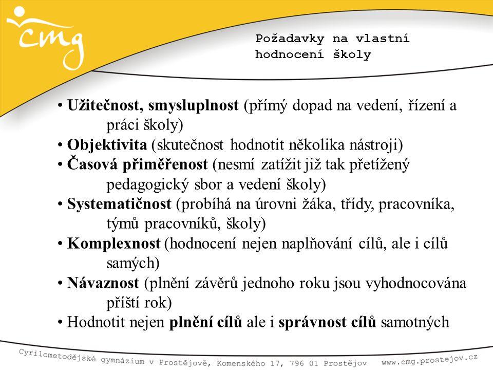 • Užitečnost, smysluplnost (přímý dopad na vedení, řízení a práci školy) • Objektivita (skutečnost hodnotit několika nástroji) • Časová přiměřenost (n