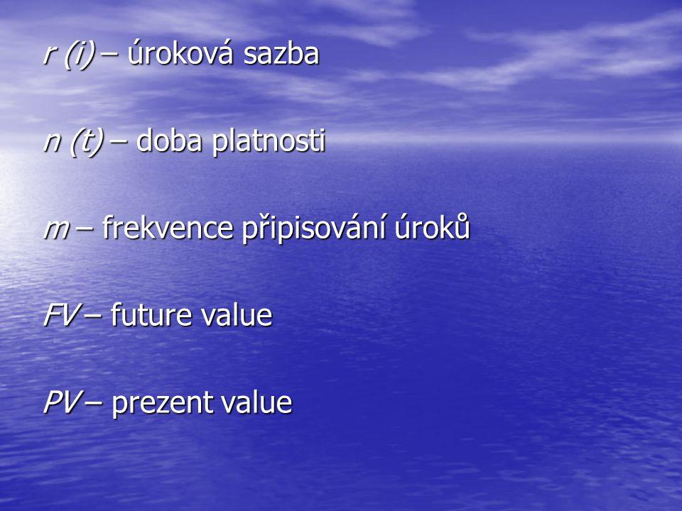 r (i) – úroková sazba n (t) – doba platnosti m – frekvence připisování úroků FV – future value PV – prezent value
