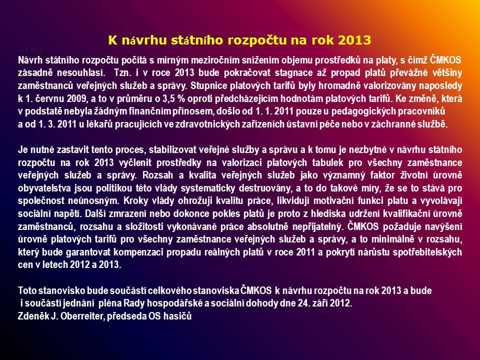 K n á vrhu st á tn í ho rozpočtu na rok 2013 17.9.2012 Návrh státního rozpočtu počítá s mírným meziročním snížením objemu prostředků na platy, s čímž ČMKOS zásadně nesouhlasí.