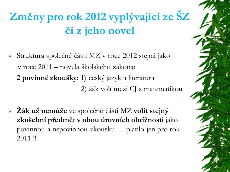 Změny pro rok 2012 vyplývající ze ŠZ či z jeho novel  Struktura společné části MZ v roce 2012 stejná jako v roce 2011 – novela školského zákona: 2 povinné zkoušky: 1) český jazyk a literatura 2) žák volí mezi CJ a matematikou  Žák už nemůže ve společné části MZ volit stejný zkušební předmět v obou úrovních obtížnosti jako povinnou a nepovinnou zkoušku … platilo jen pro rok 2011 !!
