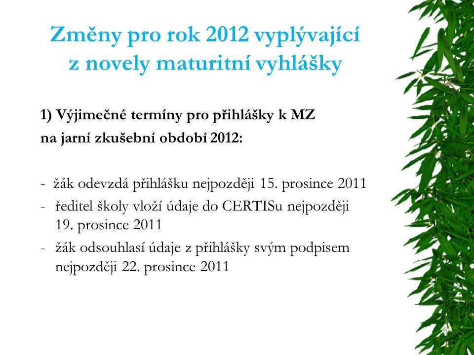 Změny pro rok 2012 vyplývající z novely maturitní vyhlášky 2) Nové časové schéma maturitních zkoušek – jaro 2012:  od 1.
