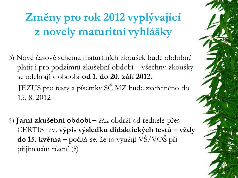 Změny pro rok 2012 vyplývající z novely maturitní vyhlášky 3) Nové časové schéma maturitních zkoušek bude obdobně platit i pro podzimní zkušební období – všechny zkoušky se odehrají v období od 1.