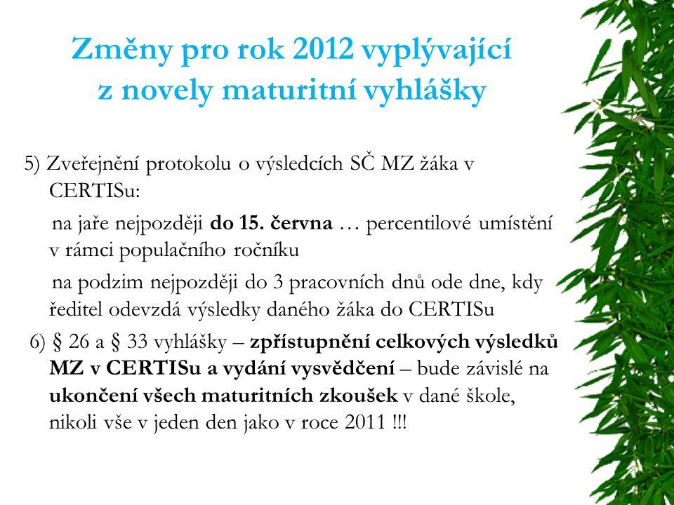 Změny pro rok 2012 vyplývající z novely maturitní vyhlášky 5) Zveřejnění protokolu o výsledcích SČ MZ žáka v CERTISu: na jaře nejpozději do 15.