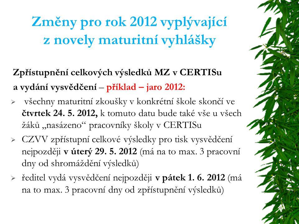 Změny pro rok 2012 vyplývající z novely maturitní vyhlášky Zpřístupnění celkových výsledků MZ v CERTISu a vydání vysvědčení – příklad – jaro 2012:  všechny maturitní zkoušky v konkrétní škole skončí ve čtvrtek 24.