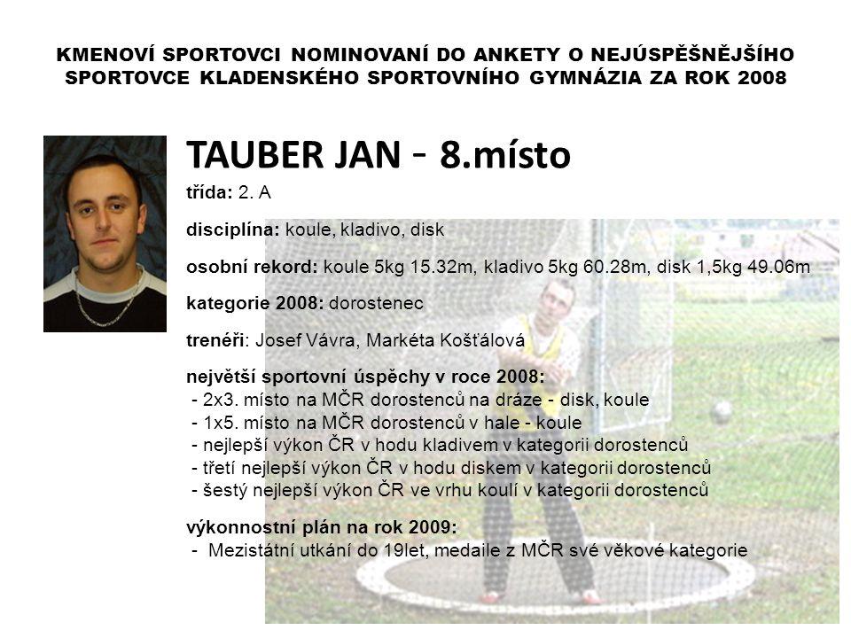 TAUBER JAN - 8.místo třída: 2. A disciplína: koule, kladivo, disk osobní rekord: koule 5kg 15.32m, kladivo 5kg 60.28m, disk 1,5kg 49.06m kategorie 200