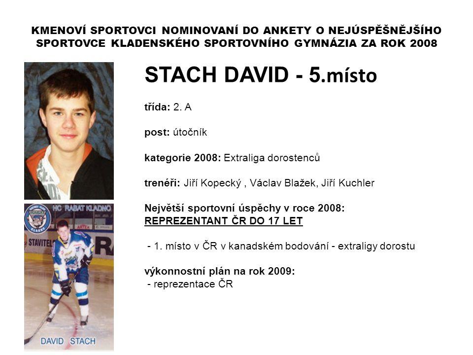 STACH DAVID - 5.místo třída: 2. A post: útočník kategorie 2008: Extraliga dorostenců trenéři: Jiří Kopecký, Václav Blažek, Jiří Kuchler Největší sport