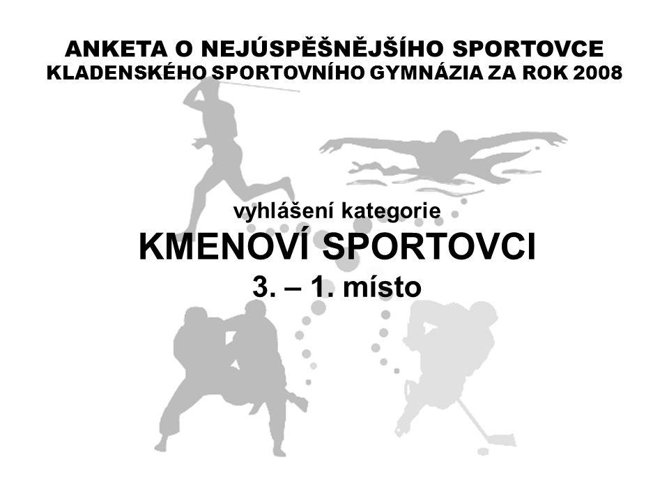 ANKETA O NEJÚSPĚŠNĚJŠÍHO SPORTOVCE KLADENSKÉHO SPORTOVNÍHO GYMNÁZIA ZA ROK 2008 vyhlášení kategorie KMENOVÍ SPORTOVCI 3. – 1. místo