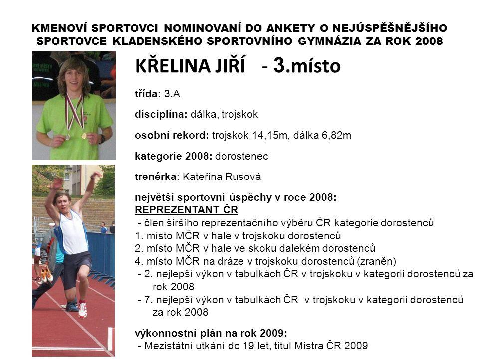 KŘELINA JIŘÍ - 3.místo třída: 3.A disciplína: dálka, trojskok osobní rekord: trojskok 14,15m, dálka 6,82m kategorie 2008: dorostenec trenérka: Kateřin