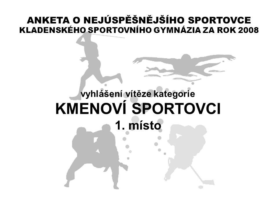 ANKETA O NEJÚSPĚŠNĚJŠÍHO SPORTOVCE KLADENSKÉHO SPORTOVNÍHO GYMNÁZIA ZA ROK 2008 vyhlášení vítěze kategorie KMENOVÍ SPORTOVCI 1. místo
