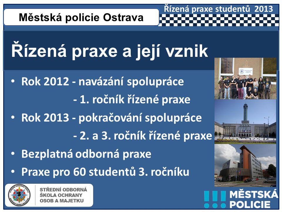 • Rok 2012 - navázání spolupráce - 1. ročník řízené praxe • Rok 2013 - pokračování spolupráce - 2.