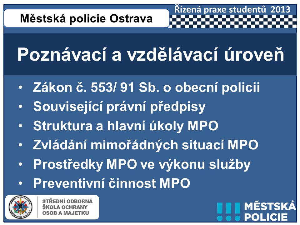 •Praxe na pracovištích MPO •Praxe ve výkonu služby Monitorovací a praktická úroveň Městská policie Ostrava Řízená praxe studentů 2013