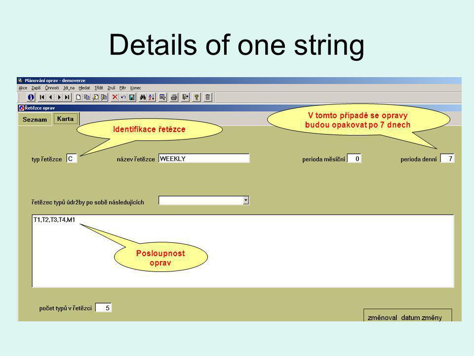 Details of one string Posloupnost oprav Identifikace řetězce V tomto případě se opravy budou opakovat po 7 dnech