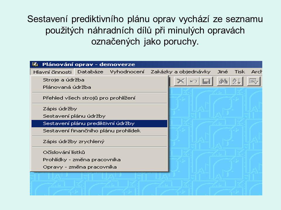 Sestavení prediktivního plánu oprav vychází ze seznamu použitých náhradních dílů při minulých opravách označených jako poruchy.