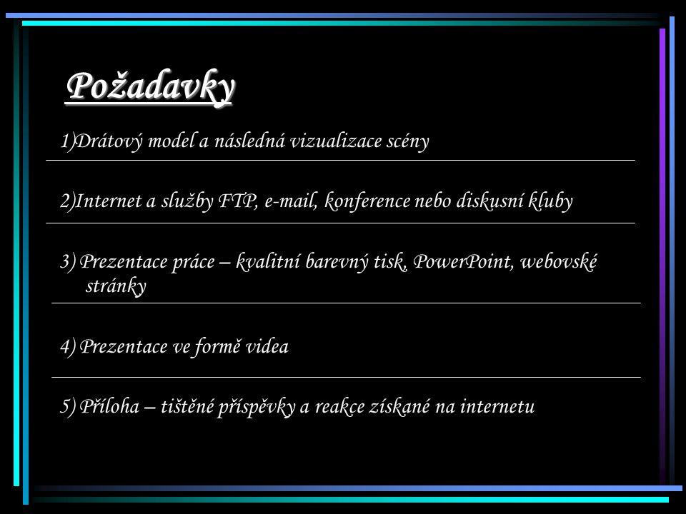 Požadavky 1)Drátový model a následná vizualizace scény 2)Internet a služby FTP, e-mail, konference nebo diskusní kluby 3) Prezentace práce – kvalitní barevný tisk, PowerPoint, webovské stránky 4) Prezentace ve formě videa 5) Příloha – tištěné příspěvky a reakce získané na internetu