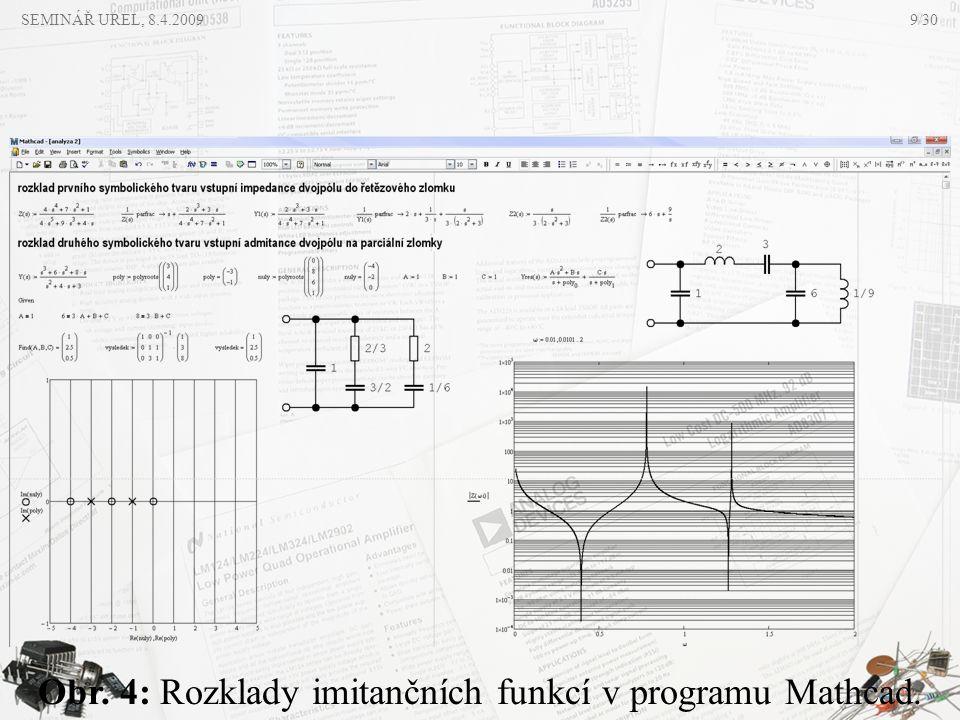 SEMINÁŘ UREL, 8.4.2009 Obr. 4: Rozklady imitančních funkcí v programu Mathcad. 9/30