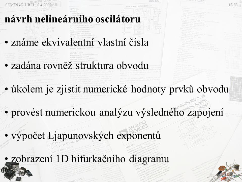 SEMINÁŘ UREL, 8.4.2009 návrh nelineárního oscilátoru • známe ekvivalentní vlastní čísla • zadána rovněž struktura obvodu • úkolem je zjistit numerické