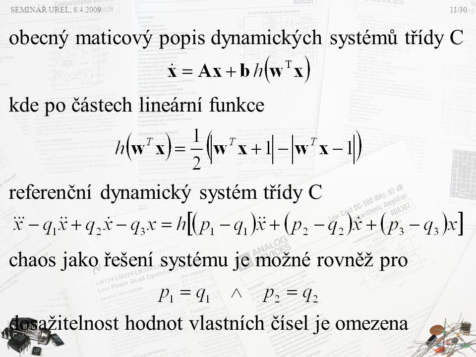 referenční dynamický systém třídy C kde po částech lineární funkce obecný maticový popis dynamických systémů třídy C chaos jako řešení systému je možn