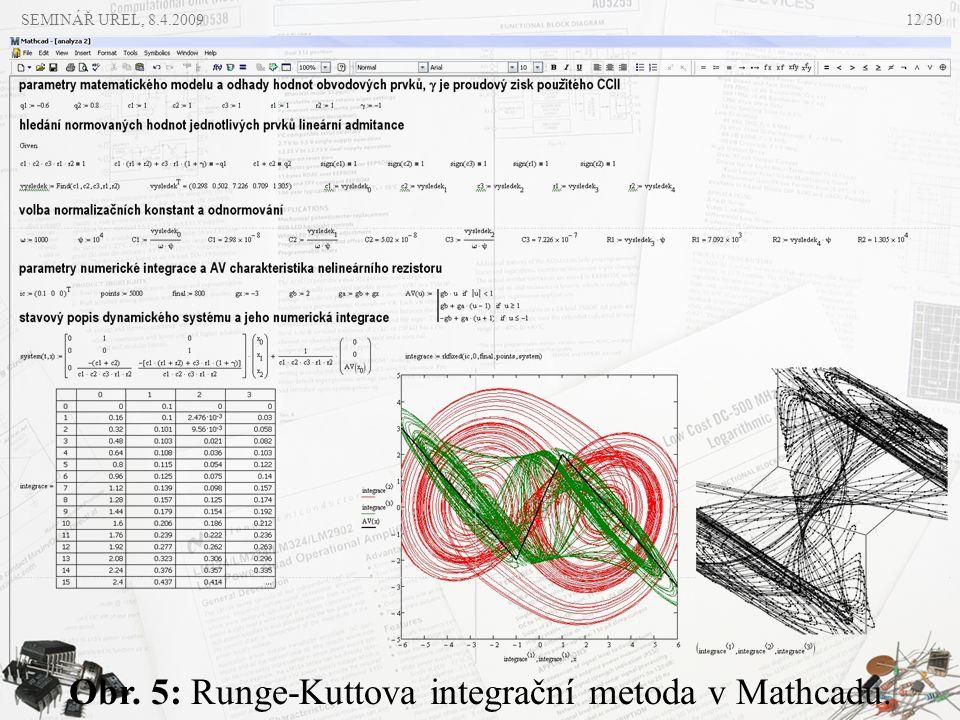 SEMINÁŘ UREL, 8.4.2009 Obr. 5: Runge-Kuttova integrační metoda v Mathcadu. 12/30