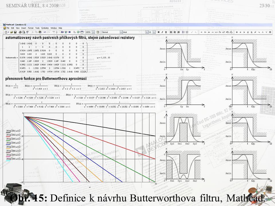 SEMINÁŘ UREL, 8.4.2009 Obr. 15: Definice k návrhu Butterworthova filtru, Mathcad. 23/30