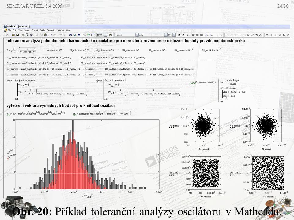 Obr. 20: Příklad toleranční analýzy oscilátoru v Mathcadu. SEMINÁŘ UREL, 8.4.200928/30