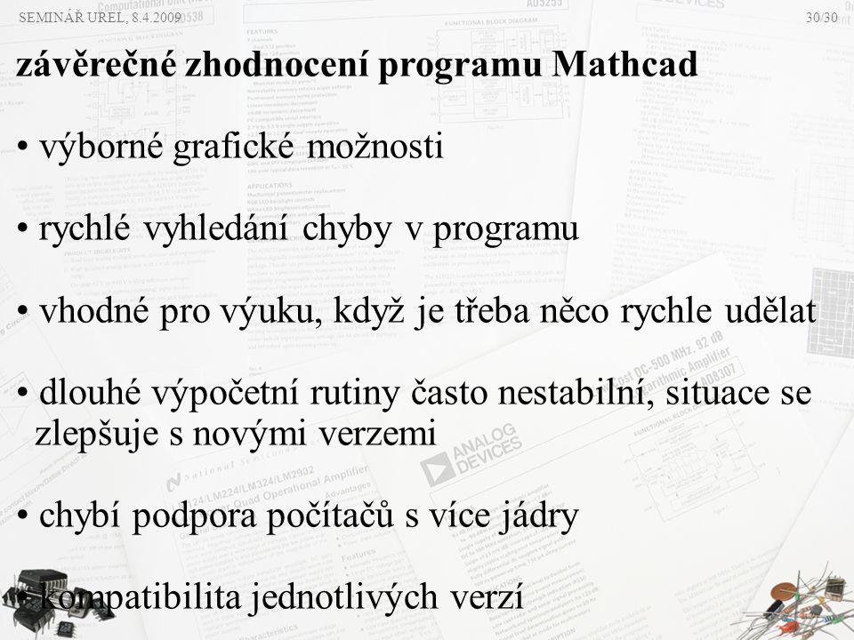 SEMINÁŘ UREL, 8.4.2009 závěrečné zhodnocení programu Mathcad • výborné grafické možnosti • rychlé vyhledání chyby v programu • vhodné pro výuku, když
