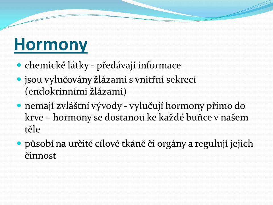 Hormony  chemické látky - předávají informace  jsou vylučovány žlázami s vnitřní sekrecí (endokrinními žlázami)  nemají zvláštní vývody - vylučují