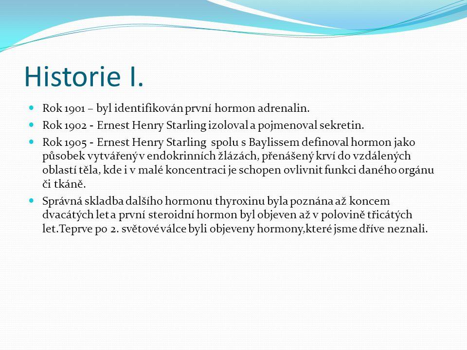 Historie I.  Rok 1901 – byl identifikován první hormon adrenalin.  Rok 1902 - Ernest Henry Starling izoloval a pojmenoval sekretin.  Rok 1905 - Ern