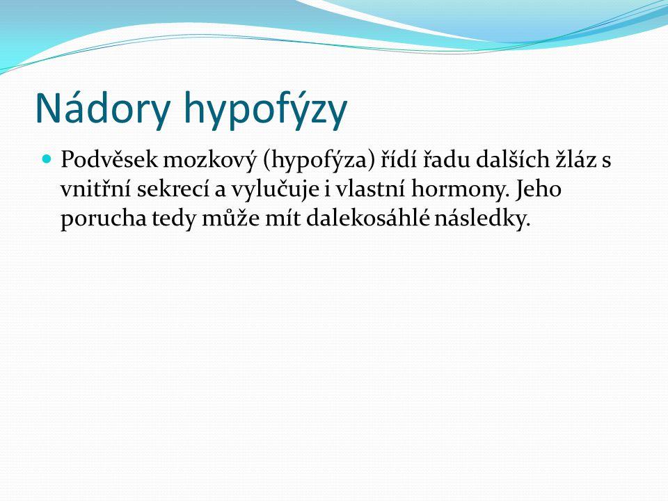Nádory hypofýzy  Podvěsek mozkový (hypofýza) řídí řadu dalších žláz s vnitřní sekrecí a vylučuje i vlastní hormony. Jeho porucha tedy může mít daleko