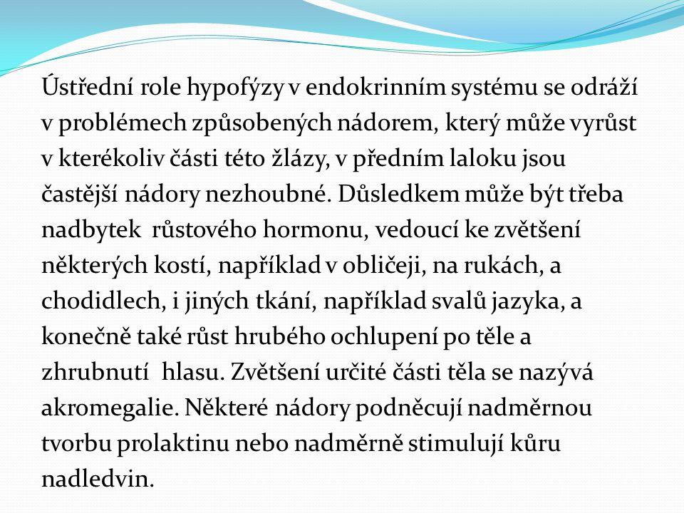 Ústřední role hypofýzy v endokrinním systému se odráží v problémech způsobených nádorem, který může vyrůst v kterékoliv části této žlázy, v předním la