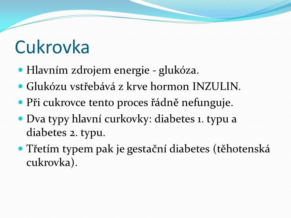 Cukrovka  Hlavním zdrojem energie - glukóza.  Glukózu vstřebává z krve hormon INZULIN.  Při cukrovce tento proces řádně nefunguje.  Dva typy hlavn