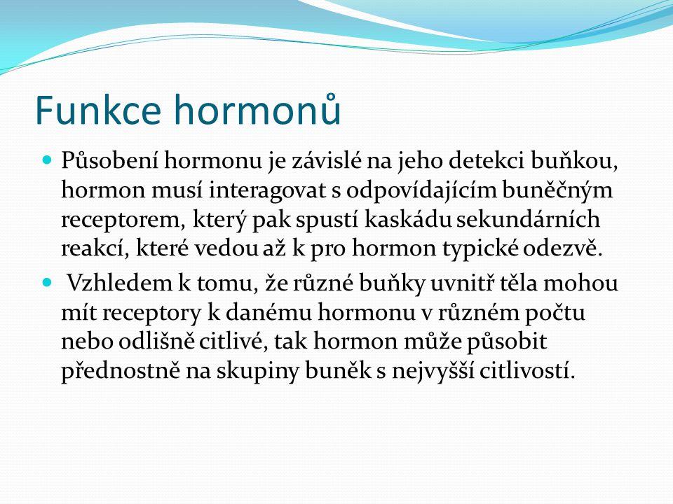 Funkce hormonů  Působení hormonu je závislé na jeho detekci buňkou, hormon musí interagovat s odpovídajícím buněčným receptorem, který pak spustí kas