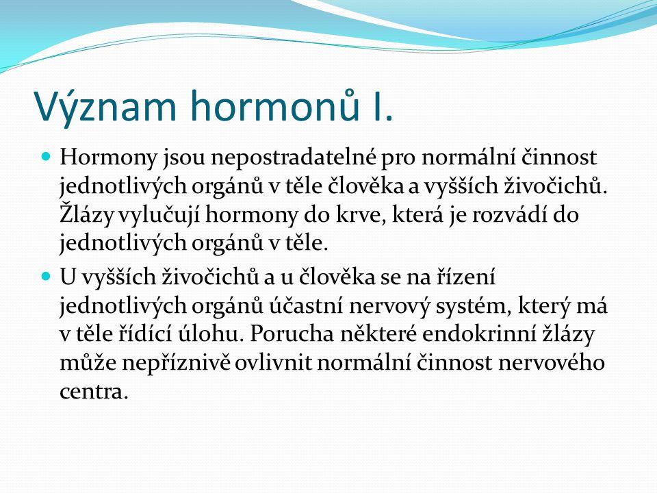Význam hormonů I.  Hormony jsou nepostradatelné pro normální činnost jednotlivých orgánů v těle člověka a vyšších živočichů. Žlázy vylučují hormony d