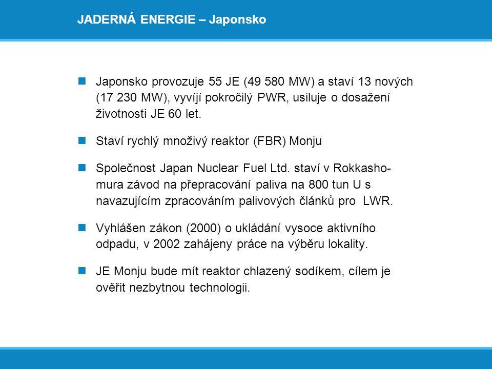 JADERNÁ ENERGIE – Japonsko  Japonsko provozuje 55 JE (49 580 MW) a staví 13 nových (17 230 MW), vyvíjí pokročilý PWR, usiluje o dosažení životnosti J