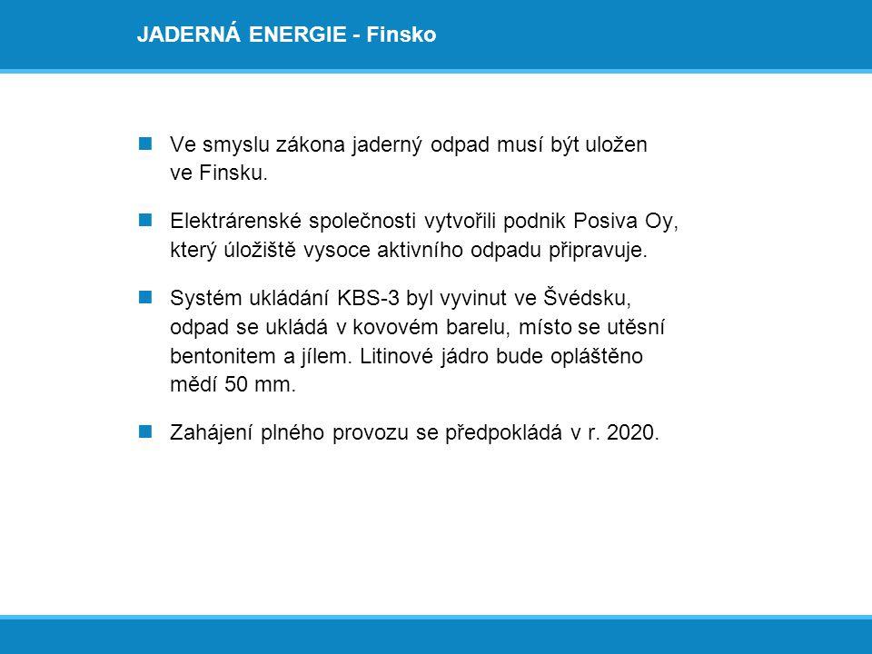 JADERNÁ ENERGIE - Finsko  Ve smyslu zákona jaderný odpad musí být uložen ve Finsku.  Elektrárenské společnosti vytvořili podnik Posiva Oy, který úlo