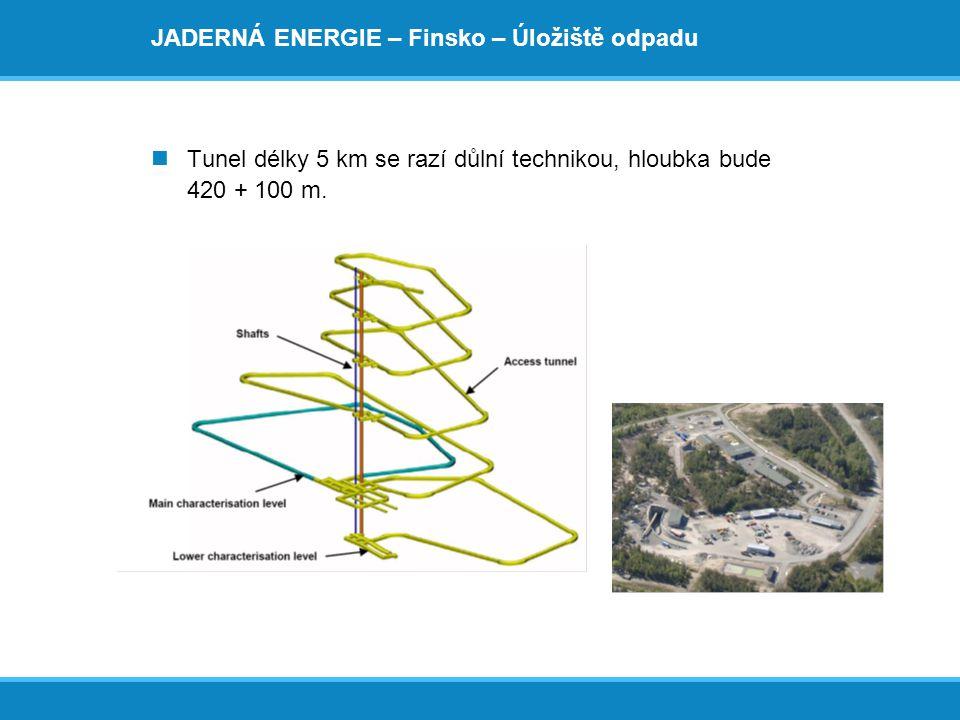 JADERNÁ ENERGIE – Finsko – Úložiště odpadu  Tunel délky 5 km se razí důlní technikou, hloubka bude 420 + 100 m.