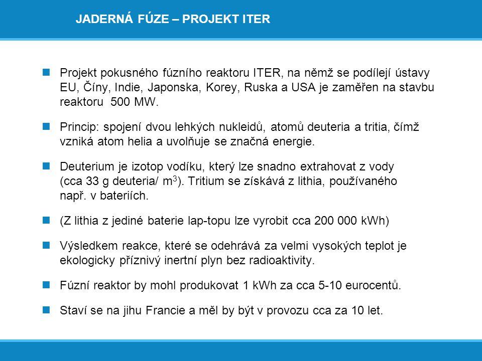 JADERNÁ FÚZE – PROJEKT ITER  Projekt pokusného fúzního reaktoru ITER, na němž se podílejí ústavy EU, Číny, Indie, Japonska, Korey, Ruska a USA je zam