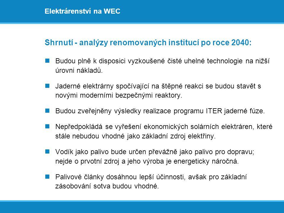 Elektrárenství na WEC Shrnutí - analýzy renomovaných institucí po roce 2040:  Budou plně k disposici vyzkoušené čisté uhelné technologie na nižší úro