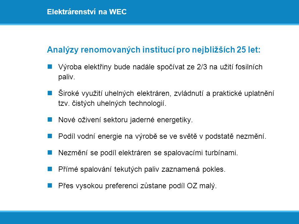 Elektrárenství na WEC Analýzy renomovaných institucí pro nejbližších 25 let:  Výroba elektřiny bude nadále spočívat ze 2/3 na užití fosilních paliv.
