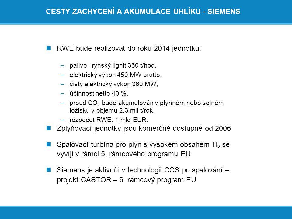 CESTY ZACHYCENÍ A AKUMULACE UHLÍKU - SIEMENS  RWE bude realizovat do roku 2014 jednotku: –palivo : rýnský lignit 350 t/hod, –elektrický výkon 450 MW