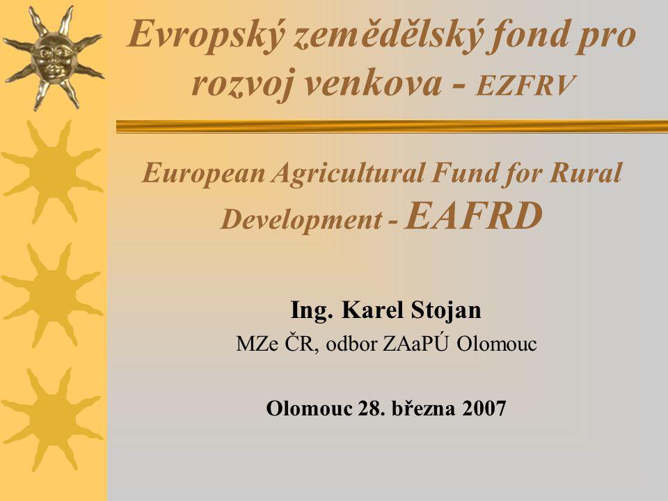 """Úvod do problematiky - EU má několik politik ( programů – vizí ) - Společná zemědělská politika EU – probíhá její reforma – odklon od produkce - Rozdělení """"Zemědělského orientačního a záručního fondů na fondy dva: * Evropský zemědělský záruční fond * Evropský zemědělský fond pro rozvoj venkova ( EZFRV – EAFRD ) - Národní strategický plán rozvoje venkova ČR na období 2007-2013 - Program rozvoje venkova ČR na období 2007- 2013 ( PRV ) * Priority: 3 + 1 = 4 osy * Opatření: 6 + 10 + 3 + 2 = 21 * Podopatření: 20 + 13 + 8 + 3 = 44"""