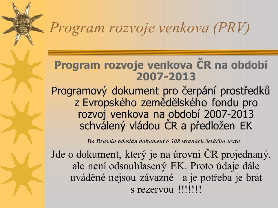 Program rozvoje venkova (PRV) Program rozvoje venkova ČR na období 2007-2013 Programový dokument pro čerpání prostředků z Evropského zemědělského fond