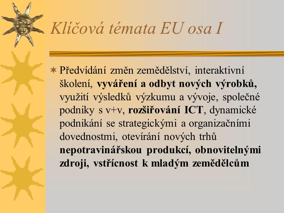 Klíčová témata EU osa I  Předvídání změn zemědělství, interaktivní školení, vyváření a odbyt nových výrobků, využití výsledků výzkumu a vývoje, společné podniky s v+v, rozšiřování ICT, dynamické podnikání se strategickými a organizačními dovednostmi, otevírání nových trhů nepotravinářskou produkcí, obnovitelnými zdroji, vstřícnost k mladým zemědělcům