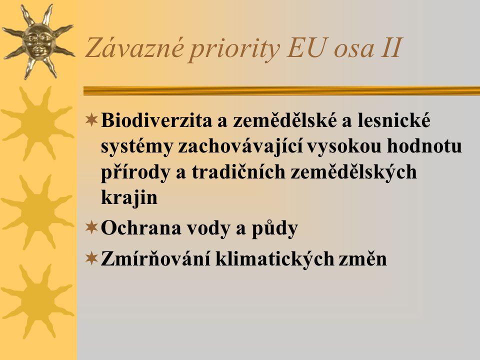 Závazné priority EU osa II  Biodiverzita a zemědělské a lesnické systémy zachovávající vysokou hodnotu přírody a tradičních zemědělských krajin  Ochrana vody a půdy  Zmírňování klimatických změn