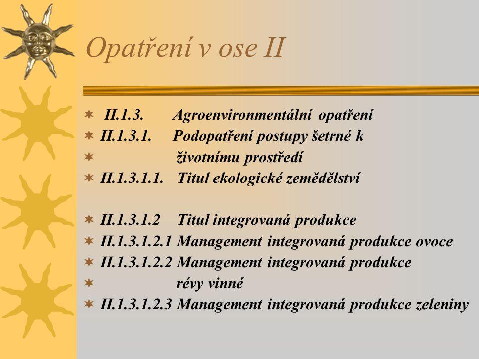Opatření v ose II  II.1.3. Agroenvironmentální opatření  II.1.3.1. Podopatření postupy šetrné k  životnímu prostředí  II.1.3.1.1. Titul ekologické