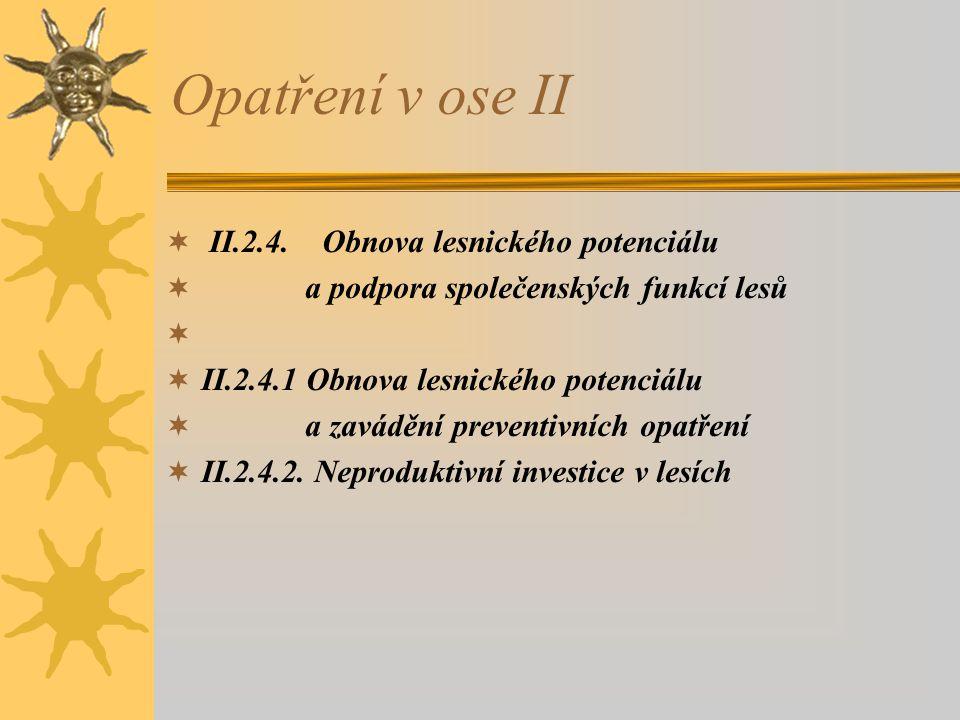 Opatření v ose II  II.2.4. Obnova lesnického potenciálu  a podpora společenských funkcí lesů   II.2.4.1 Obnova lesnického potenciálu  a zavádění
